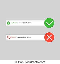 no, conexión, http, seguro, https