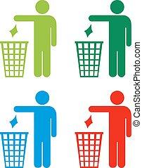 no, conjunto, tirar basura, iconos