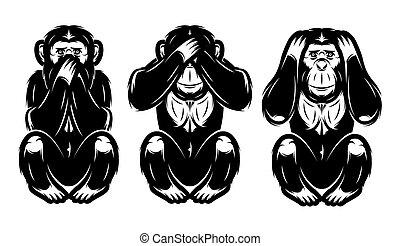 no, conjunto, -, tres, ver, oír, no, monos, decir