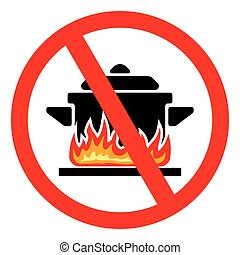 No cook - Vector illustrations of the Making food prohibited