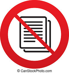 No Copy file sign icon. Duplicate document symbol. - Do not ...