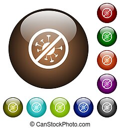 No covid white icons on round glass buttons in multiple colors