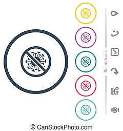 No covid flat color icons in round outlines. 6 bonus icons included.
