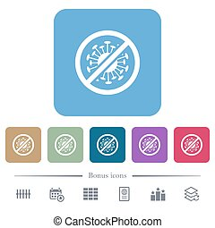No covid white flat icons on color rounded square backgrounds. 6 bonus icons included