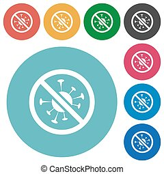 No covid flat white icons on round color backgrounds