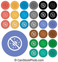 No covid multi colored flat icons on round backgrounds. Included white, light and dark icon variations for hover and active status effects, and bonus shades.