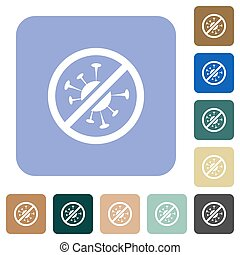 No covid white flat icons on color rounded square backgrounds