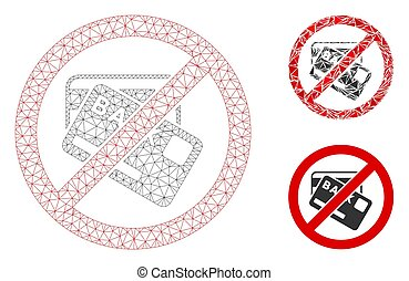 No Credit Cards Vector Mesh Wire Frame Model and Triangle Mosaic Icon