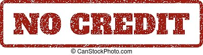Dark Red rubber seal stamp with No Credit text. Vector caption inside rounded rectangular frame. Grunge design and scratched texture for watermark labels. Horisontal emblem on a white background.