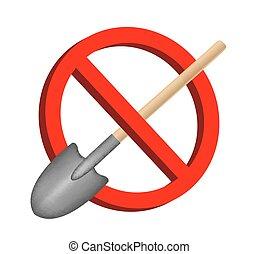 no digging shovel prohibition sign vector