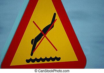 """""""No diving""""-sign closeup"""
