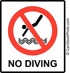 No diving sign. Vector prohibition symbol in red circle - No...