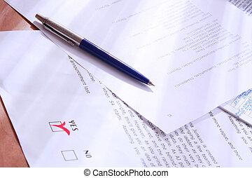 no., documentos, decisão negócio, desk., fazer, sim, votando, ou