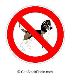 No dog forbidden sign, red prohibition symbol