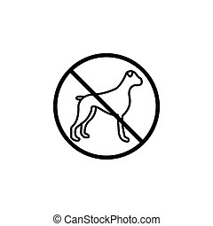 No dog line icon, prohibition sign, forbidden