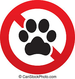 No Dog paw icon. Pets symbol. Prohibition sign. - No Dog paw...