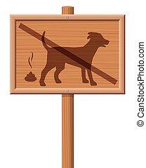 No Dog Poop Zone Wooden Signboard