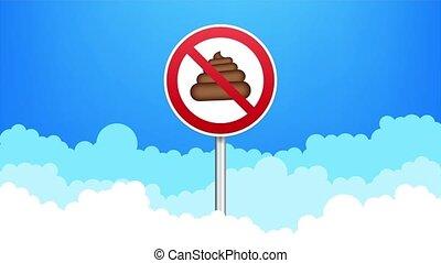 No dog pooping round sign. stock illustration
