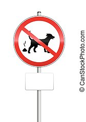 No Dog Pooping Sign - No dog pooping sign with blank place...