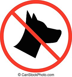 No Dogs allowed, forbidden sign on white