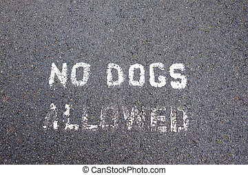 No Dogs Allowed Stencil on Path