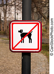 No Dogs Sign in park