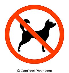 Red forbidden sign with dog silhouette behind it