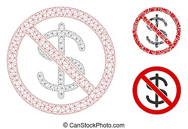 No Dollar Currency Vector Mesh Network Model and Triangle Mosaic Icon