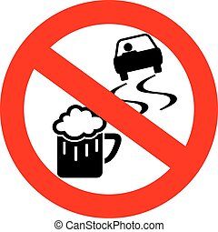 No drink and drive sign isolated on white background