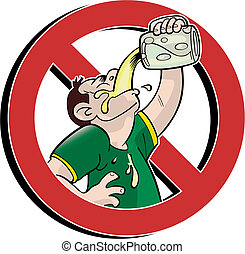 No drink - no drinking prohibition sign