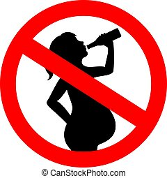 No drinking alcohol while pregnant vector sign