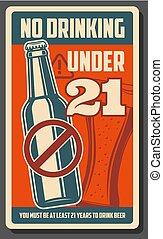 No drinking under 21, alcohol forbidden bar poster