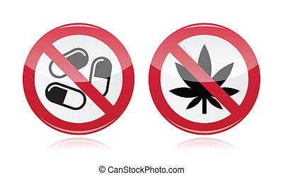 no, droghe, -, segno, dipendenza, problema
