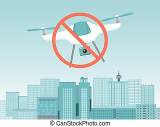 No drone concept banner, modern quadcopter gadget stop fly under urban city landscape flat vector illustration. Prohibiting sigh quadrotor, stalking video observation personal space.