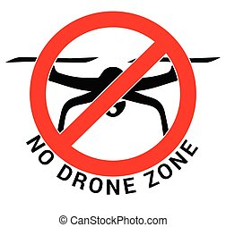 No drone zone - black quadcopter in red crossed circle symbol