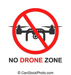 No drone zone sign icon in flat style. Quadrocopter ban vector illustration on white isolated background. Helicopter forbidden flight business concept.