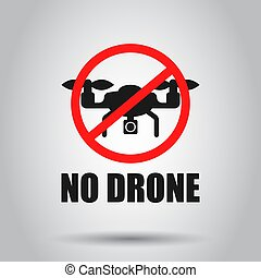No drone zone sign icon in transparent style. Ban vector illustration on isolated background. Forbidden flight business concept.