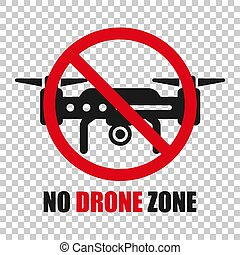 No drone zone sign icon in transparent style. Quadrocopter ban vector illustration on isolated background. Helicopter forbidden flight business concept.