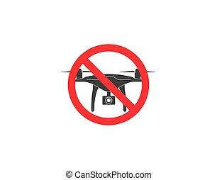 No drone zone sign, icon. Vector illustration, flat design.