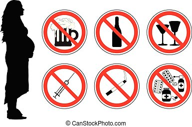 No drugs, alcohol, smoking cigarettes for pregnant woman, vector.