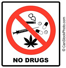 No drugs allowed. No capsule, marijuana, cannabis, tobacco, cocaine and other drugs. Red forbidden symbol. Vector prohibited illustration isolated on white