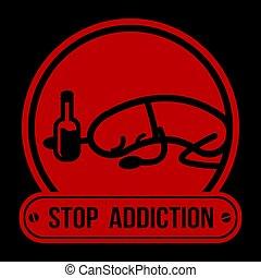 No Drugs label Campaign, Stop Addiction Alcohol, vector illustration.