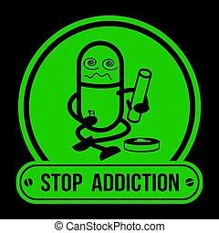 No Drugs label Campaign, Stop Addiction Marijuana, vector illustration.