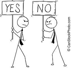 no, due, uomini affari, segni, concettuale, sì, cartone animato