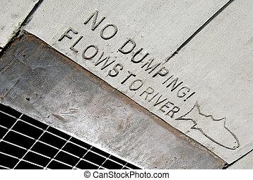 No Dumping - Environmental awareness notice on public...