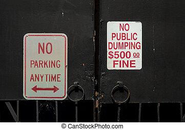 No Dumping No Parking Signs
