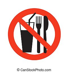 no eating and drinking sign ban on food forbidden black in red circle isolated on white background vector illustration