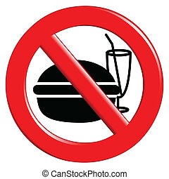 Illustration of the sign to ban food and drinks.