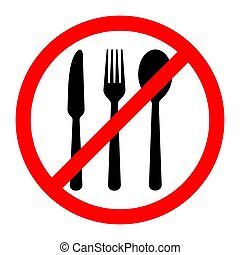 No eating sign. Vector illustration.