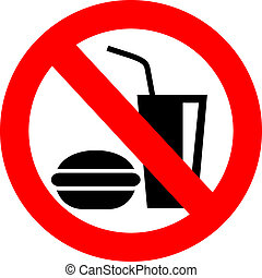 No eating vector sign isolated on white